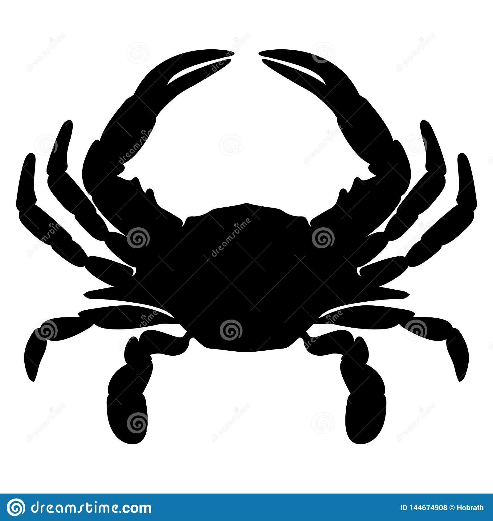 Ejemplo aislado silueta del vector del cangrejo