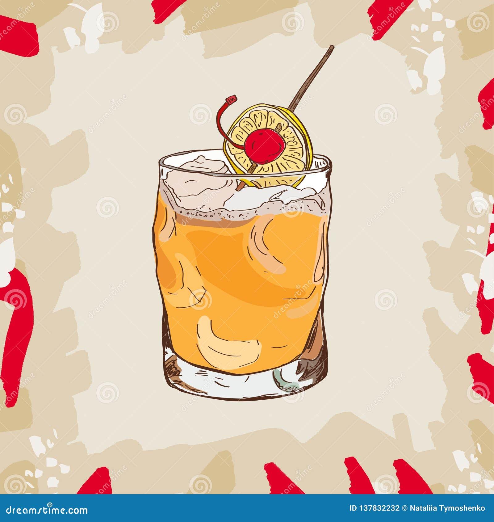 38b28291e Colección amarga del ejemplo del cóctel de whisky Los cócteles alcohólicos  dan el sistema exhausto del ejemplo del vector
