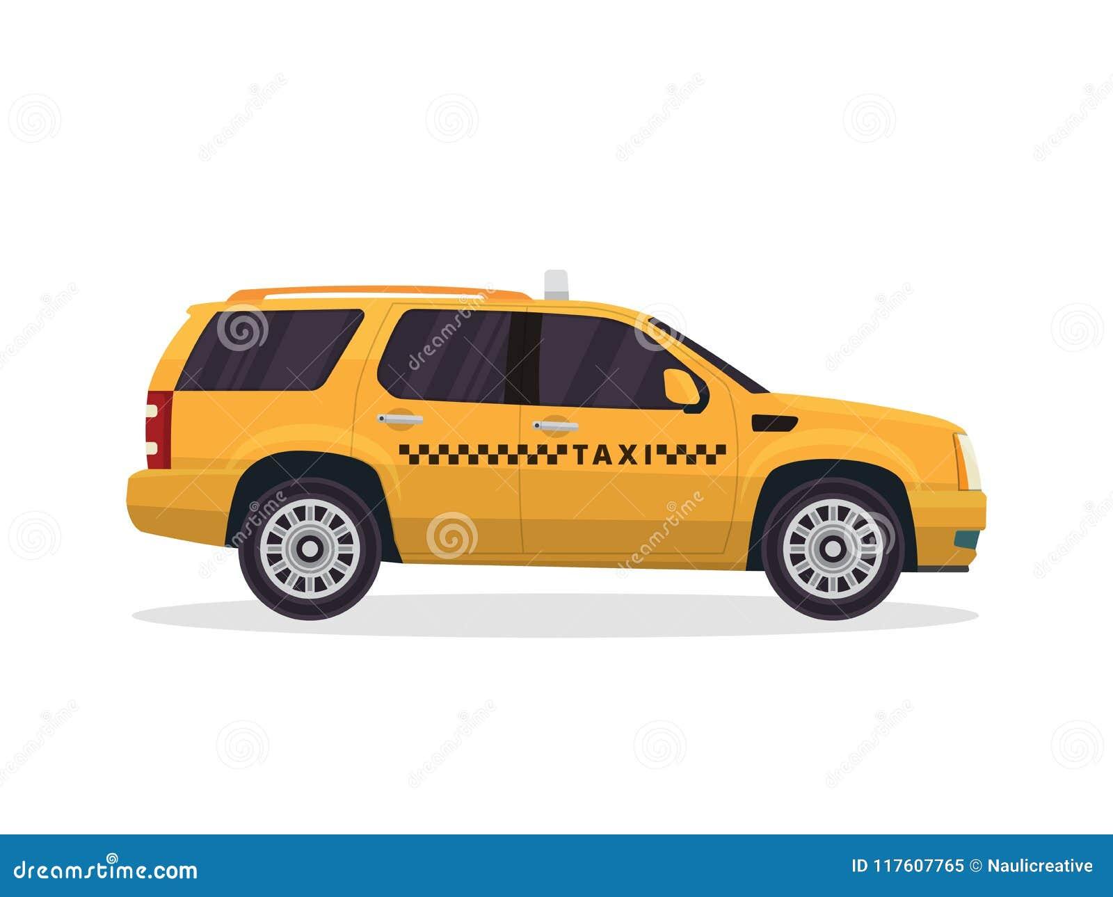 Ejemplo amarillo urbano moderno del vehículo del taxi