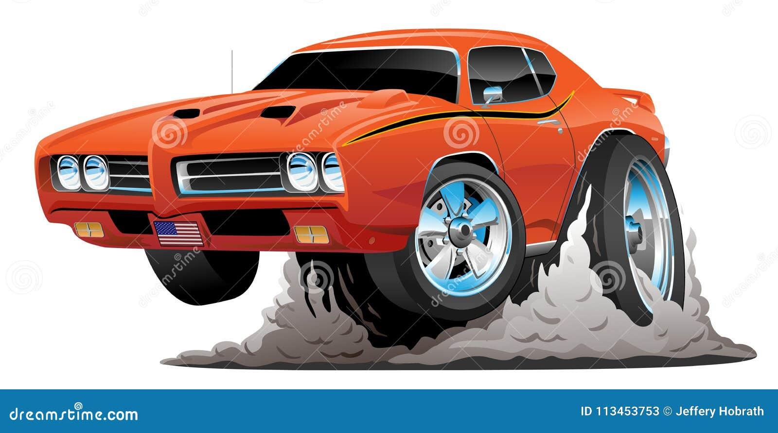 Ejemplo americano clásico del vector de la historieta del coche del músculo