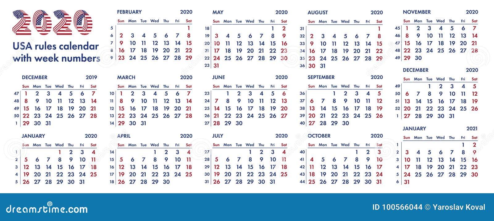 Calendario De Semanas.Ejemplo Americano De 2020 Semanas De Calendario Stock De Ilustracion