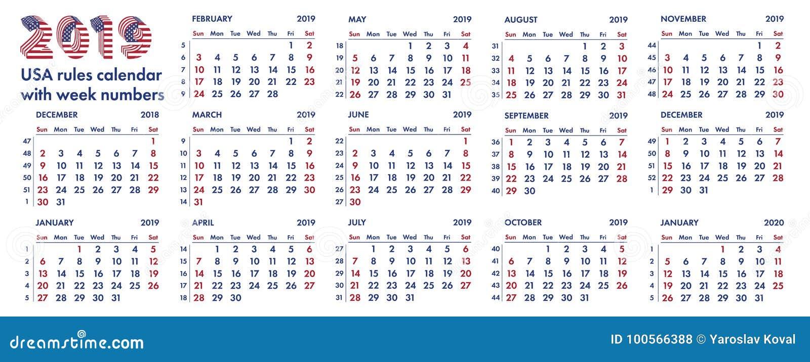 Calendario De Semanas.Ejemplo Americano De 2019 Semanas De Calendario Stock De Ilustracion