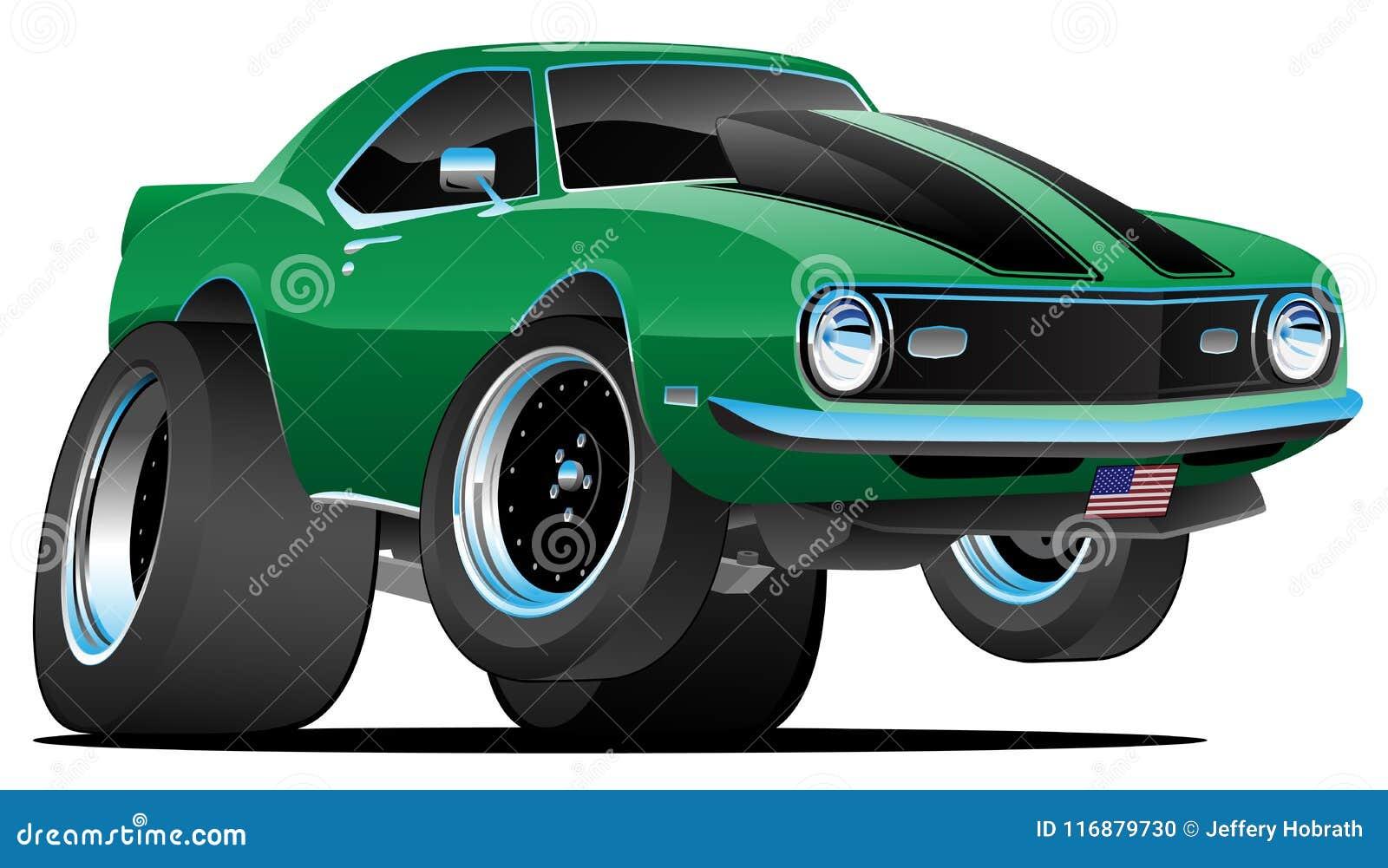 Ejemplo americano del vector de la historieta del coche del músculo del estilo clásico de los años 60