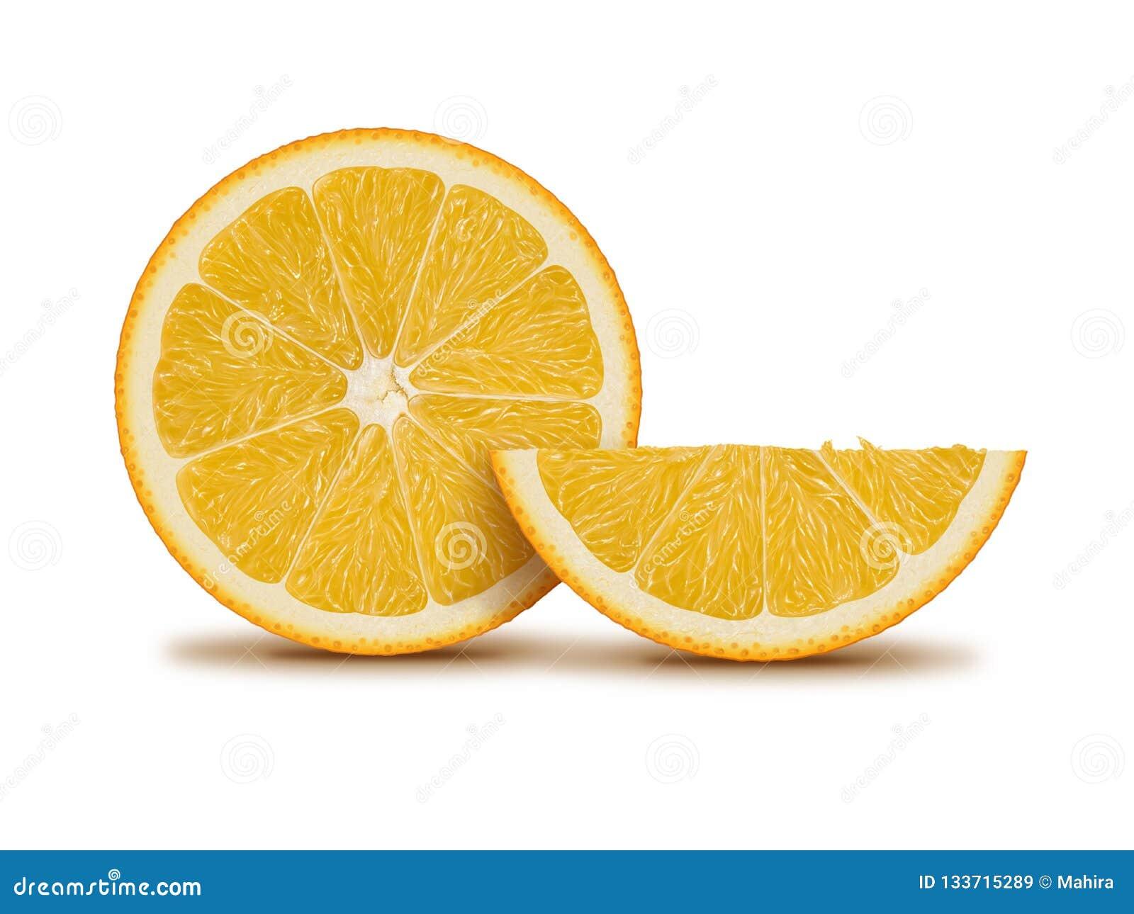 Ejemplo anaranjado de la fruta y de la rebanada