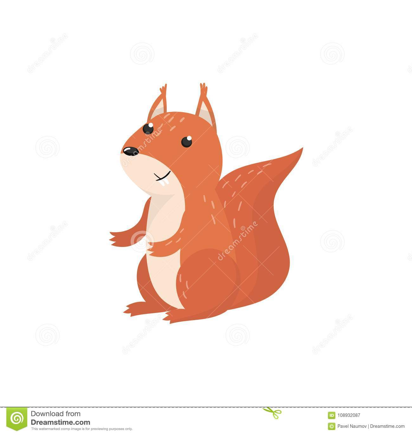 Ejemplo animal del vector de la ardilla de la historieta linda del arbolado