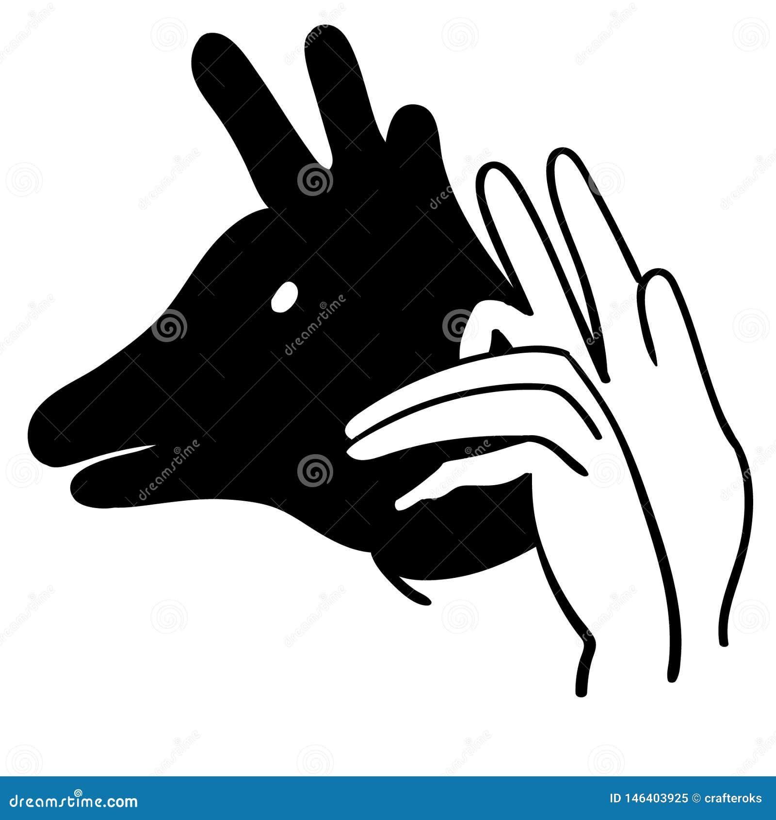 Ejemplo animal del vector de la sombra de la mano por los crafteroks