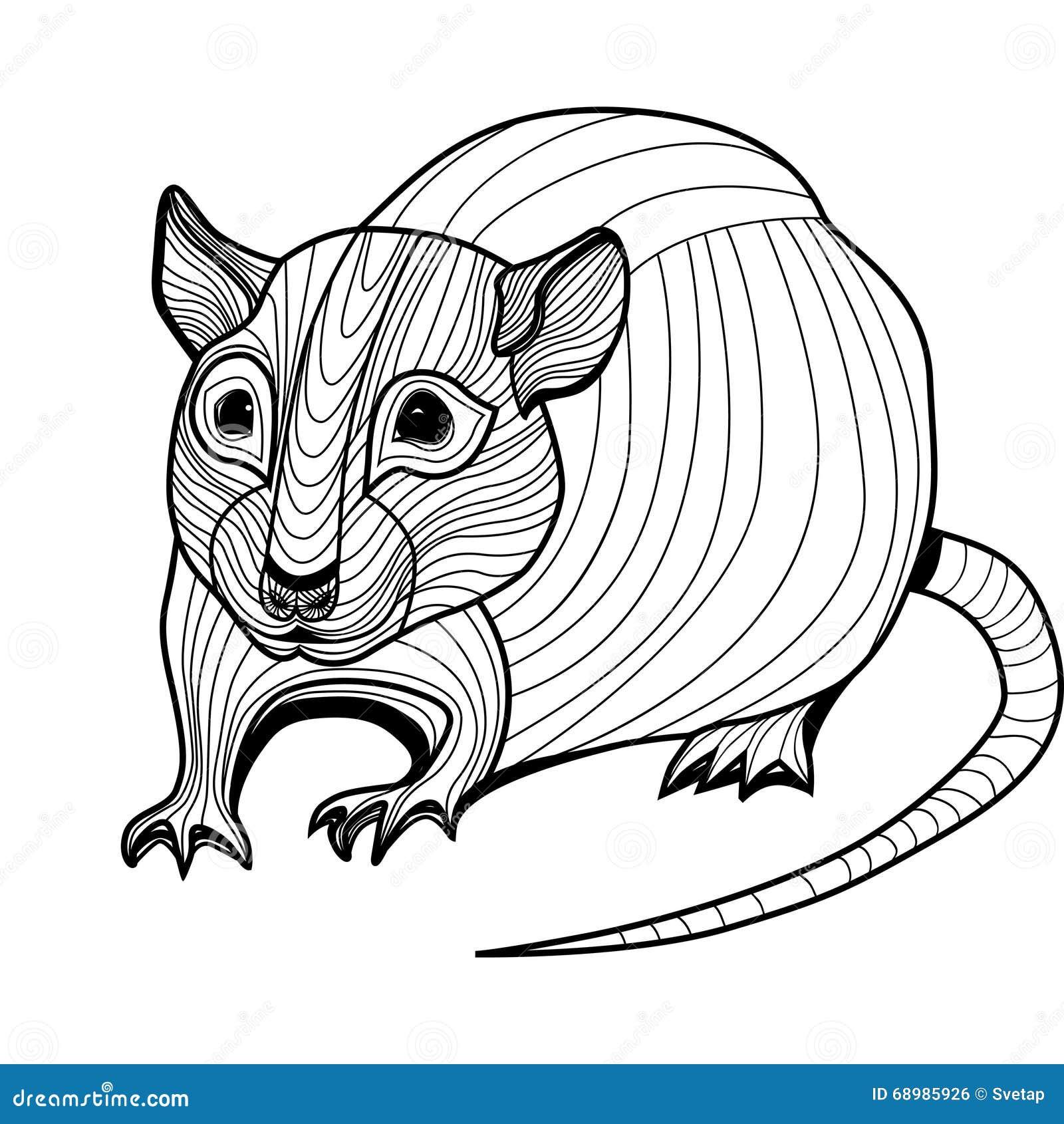 Ejemplo animal del vector principal de la rata o del ratón para la camiseta