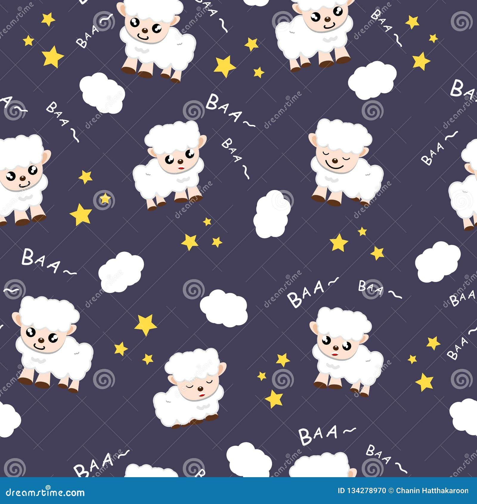 Ejemplo animal ideal dulce del vector del fondo de la colección de la historieta de la tela del fondo el dormir de las ovejas usa