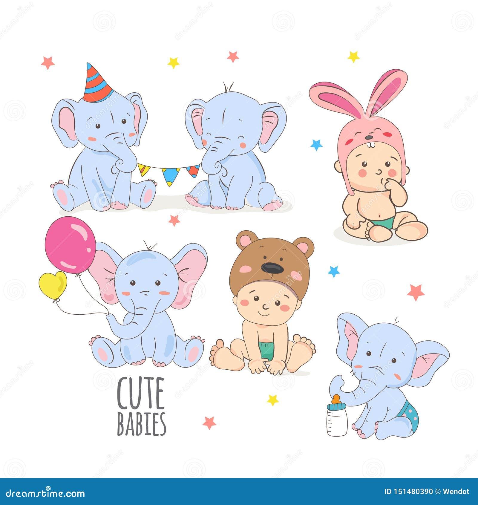 Ejemplo animal lindo del vector del elefante del bebé o del niño pequeño