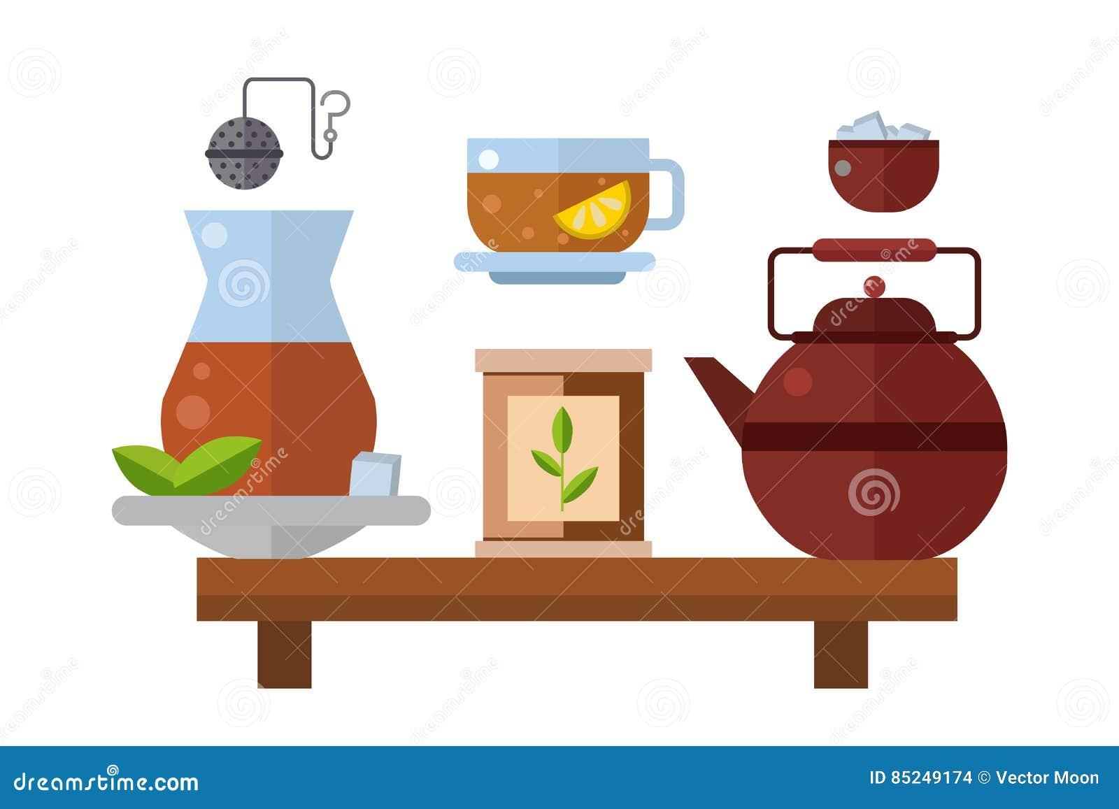 Ejemplo asiático tradicional del vector de la bebida de la ceremonia de té