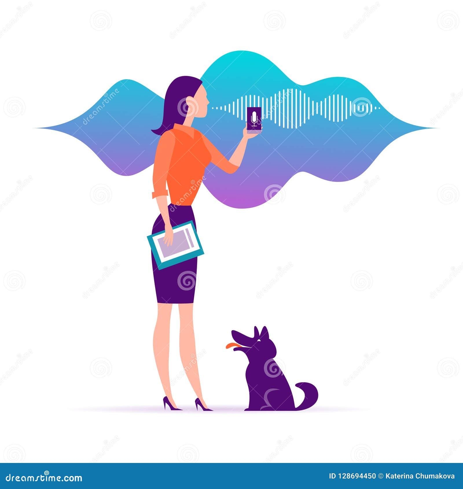Ejemplo auxiliar en línea completamente personal del vector Muchacha de oficina con el icono dinámico del micrófono del smartphon