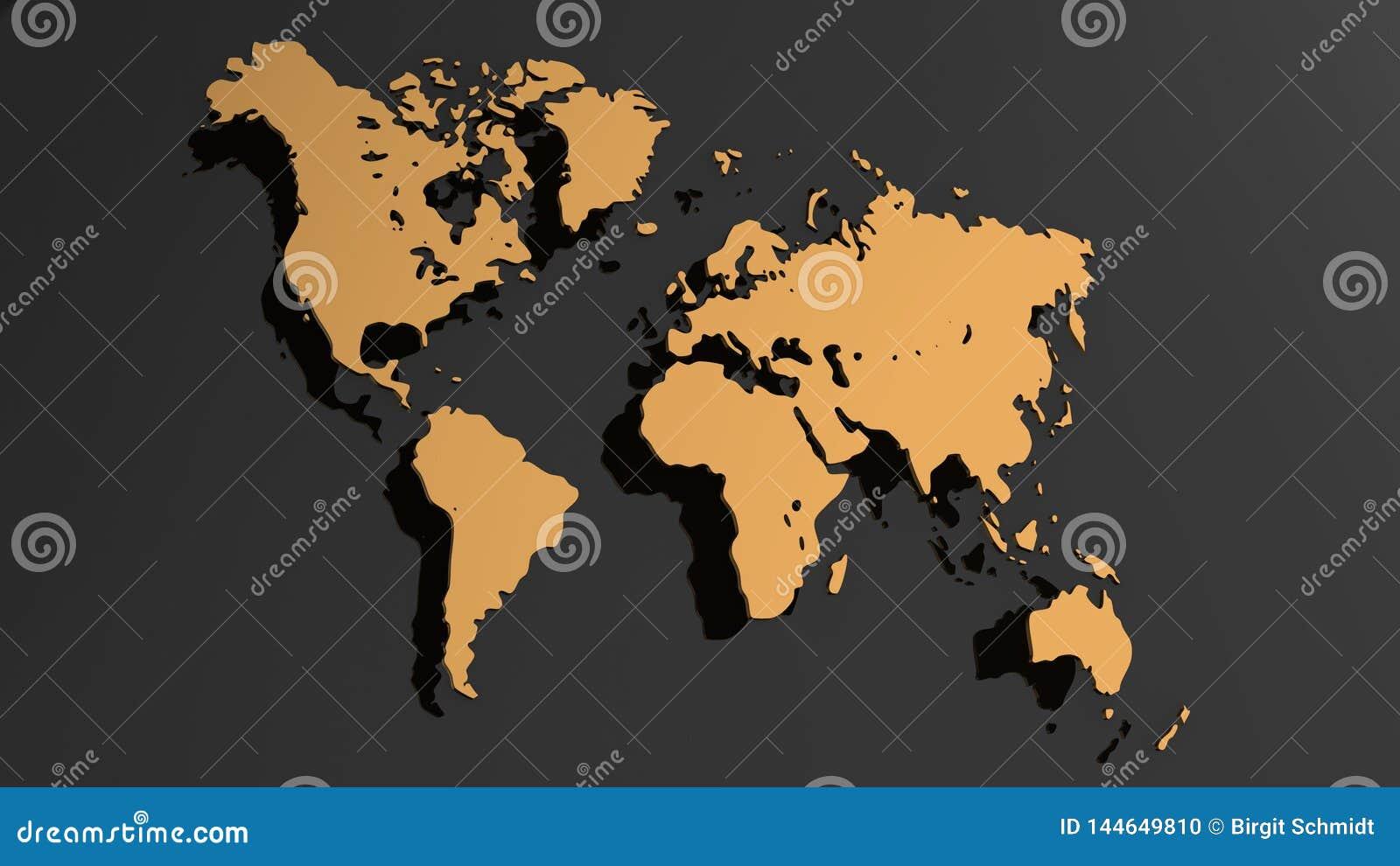 Ejemplo blanco del mapa del mundo 3D aislado en el fondo blanco