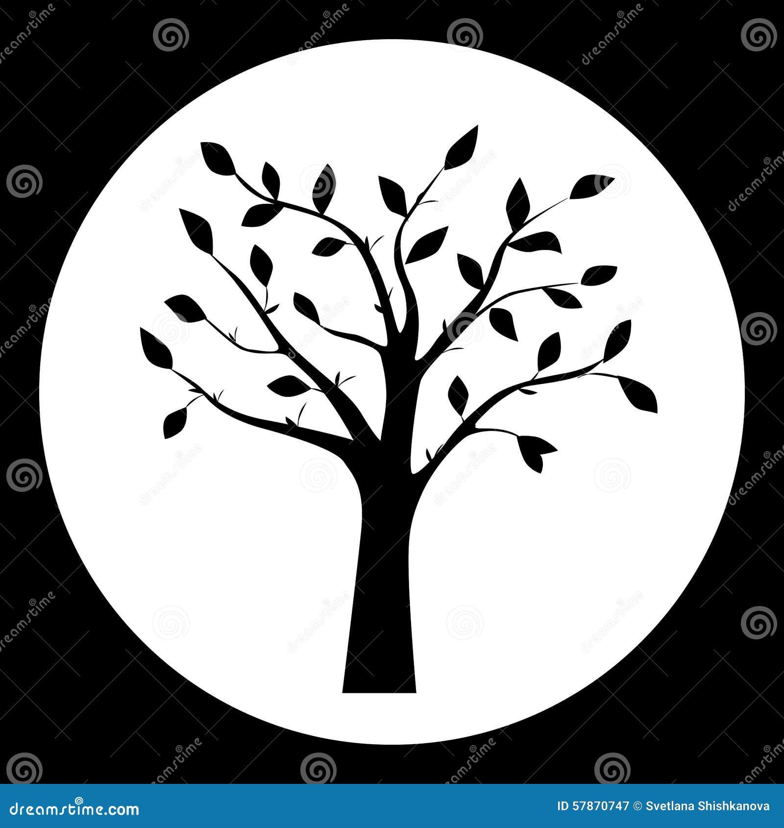 Ejemplo Blanco Y Negro Del Vector De La Silueta Del árbol Stock De