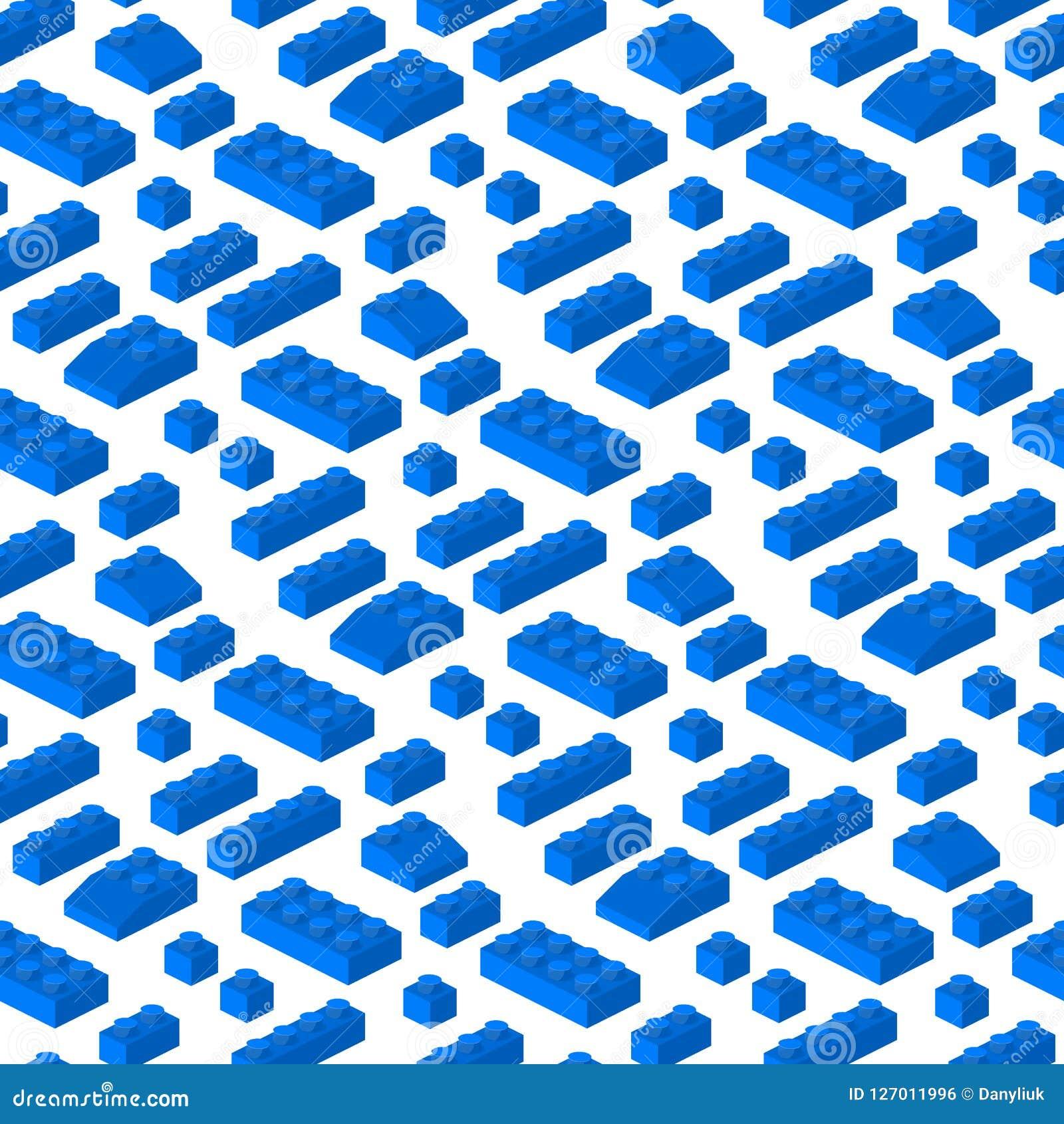 Ejemplo cúbico del vector del constructor de los bloques 3d del modelo de la estructura preescolar inconsútil isométrica del fond