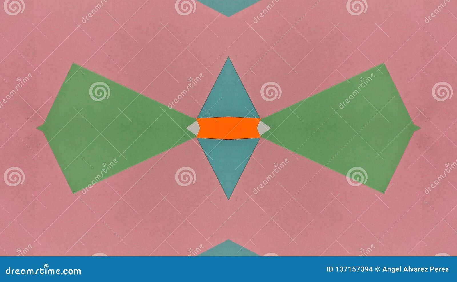 Ejemplo caleidoscópico de papeles coloreados