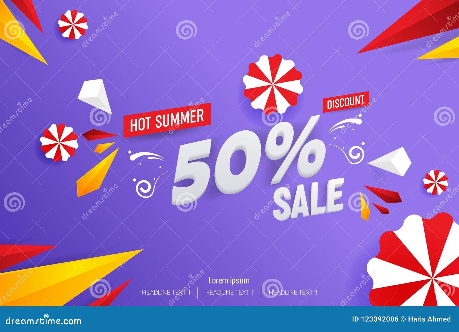 Ejemplo caliente abstracto del fondo del vector del descuento de la venta el 50  del verano