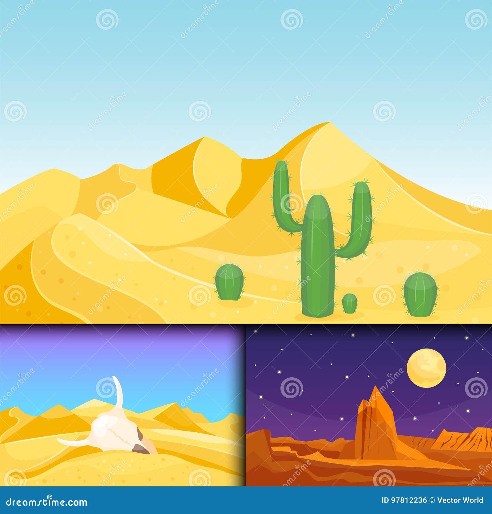 Ejemplo caliente del vector del viaje del paisaje de la duna del sol inferior seco del fondo del paisaje del desierto de la piedr
