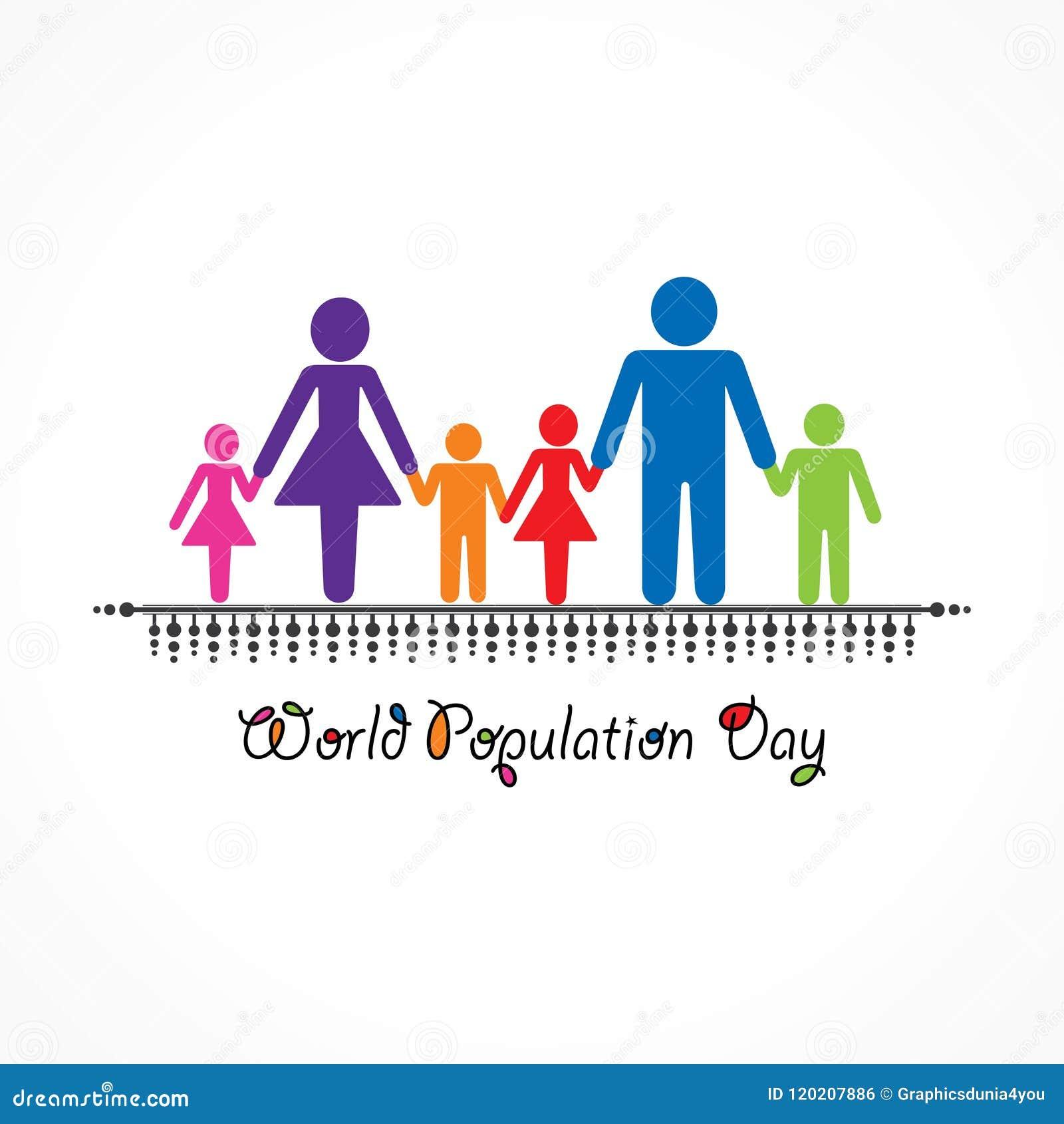 Ejemplo, cartel o bandera para el día de la población de mundo