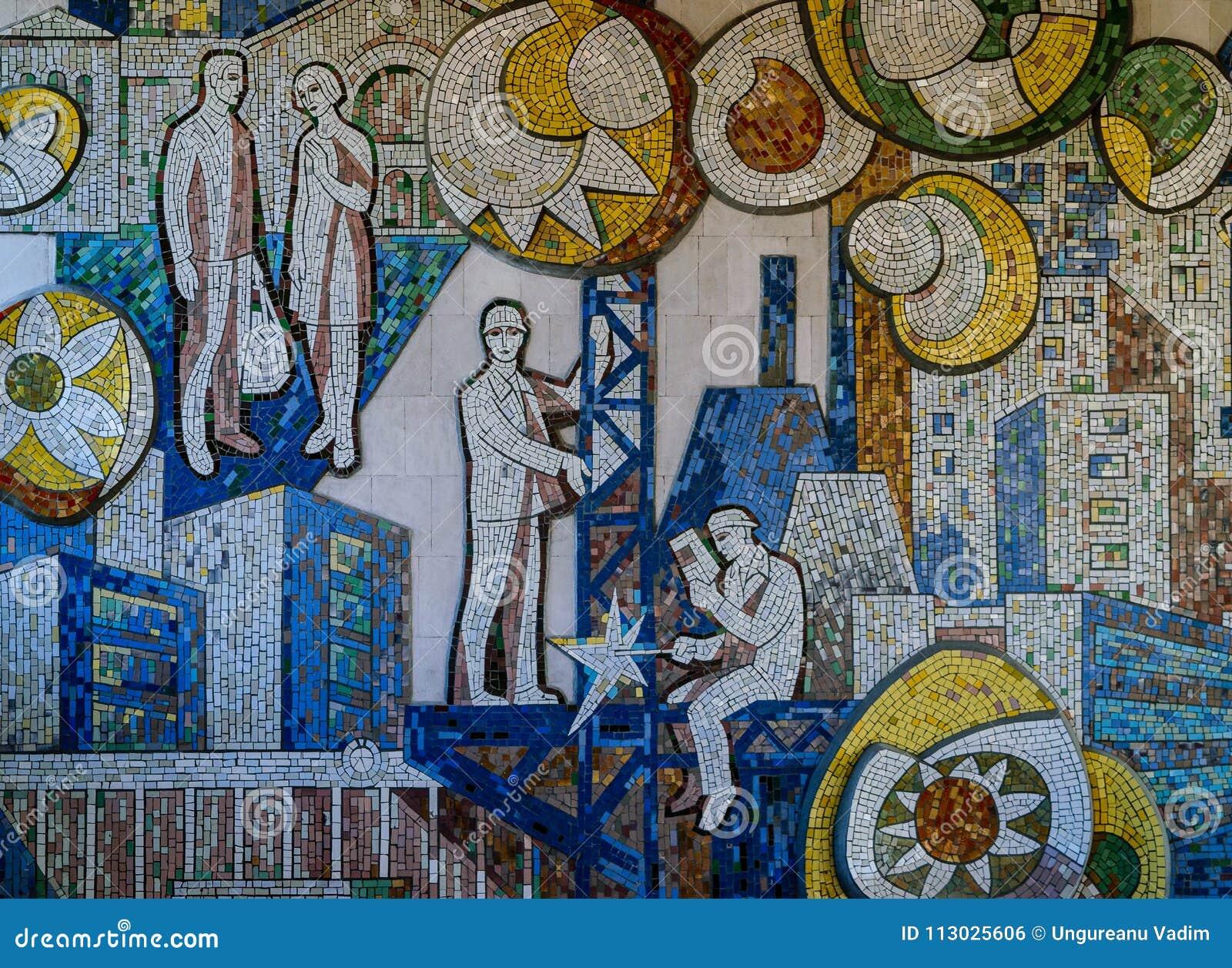 Ejemplo clásico de Unión Soviética en una pared que representa comunismo y la vida