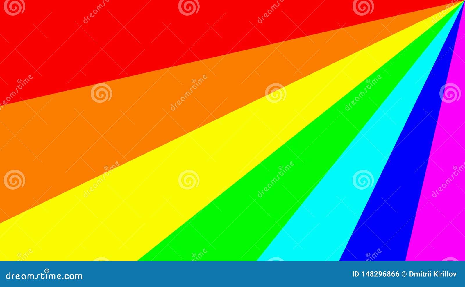 Ejemplo colorido con el espectro principal de los colores del arco iris