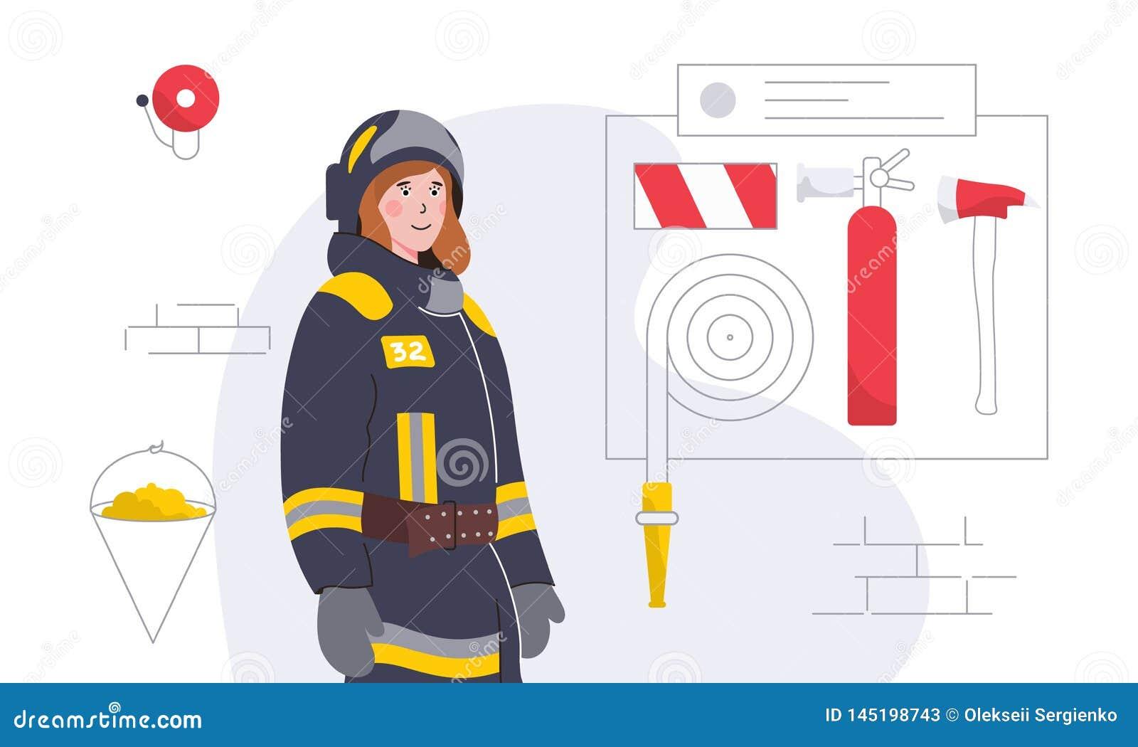 Ejemplo colorido con el mujer-bombero y el equipo