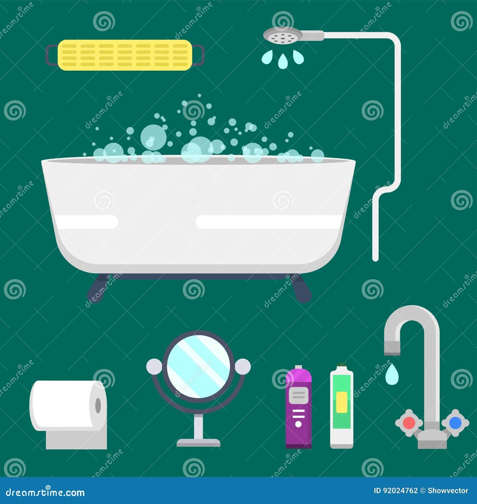 ejemplo colorido de la ducha moderna de los iconos del equipo del