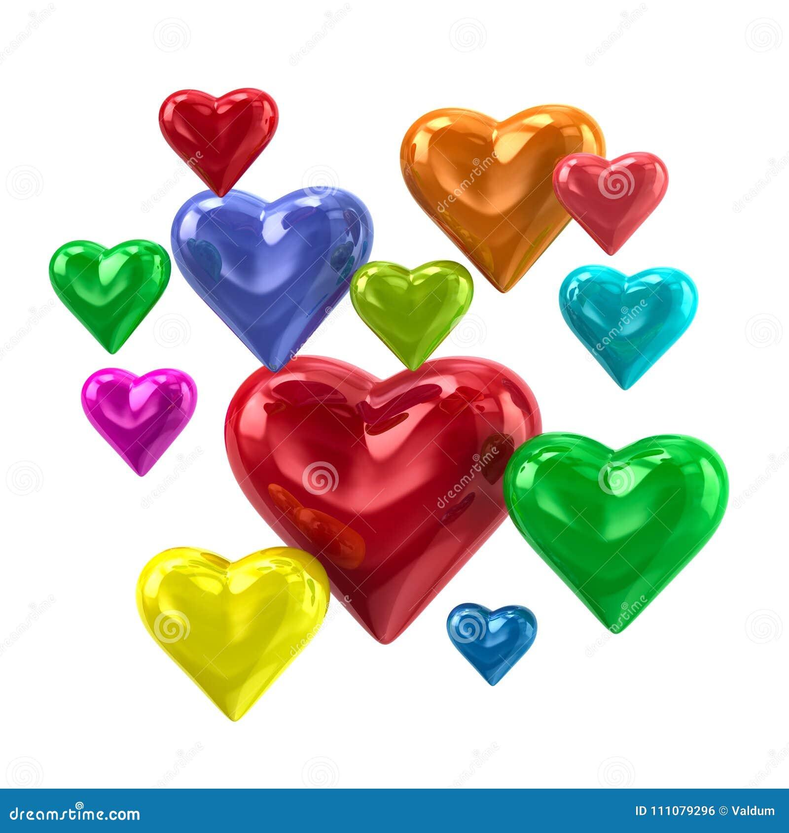 Ejemplo Colorido De Los Corazones 3d Del Amor Stock De Ilustración