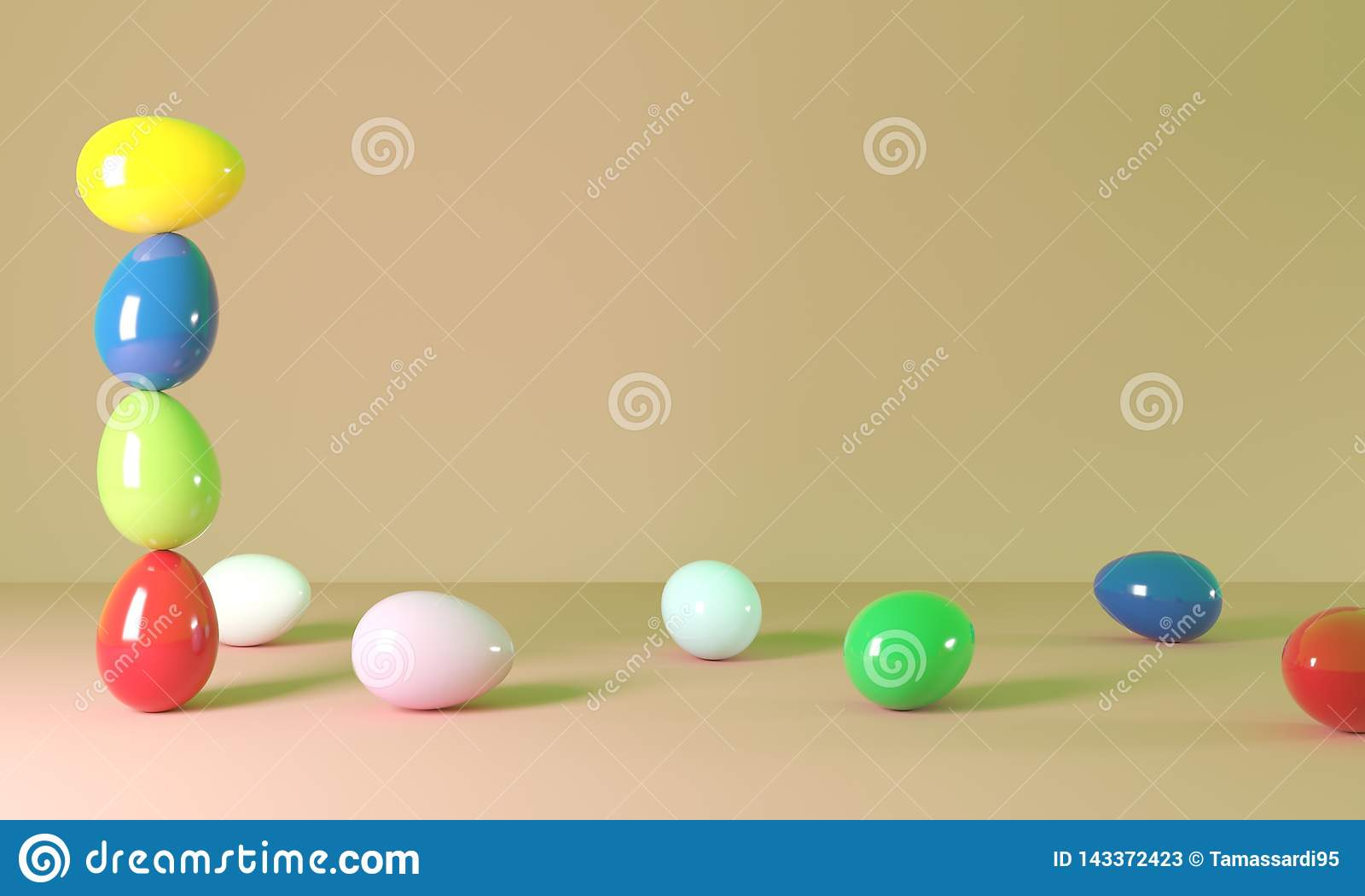 Ejemplo colorido de los huevos de Pascua 3D
