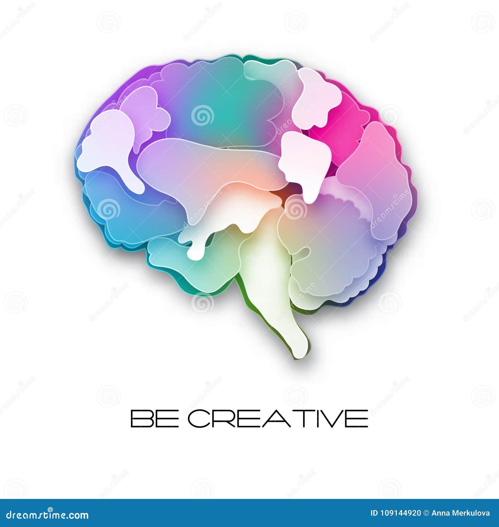 Ejemplo colorido del cerebro del vector, acodado cortado