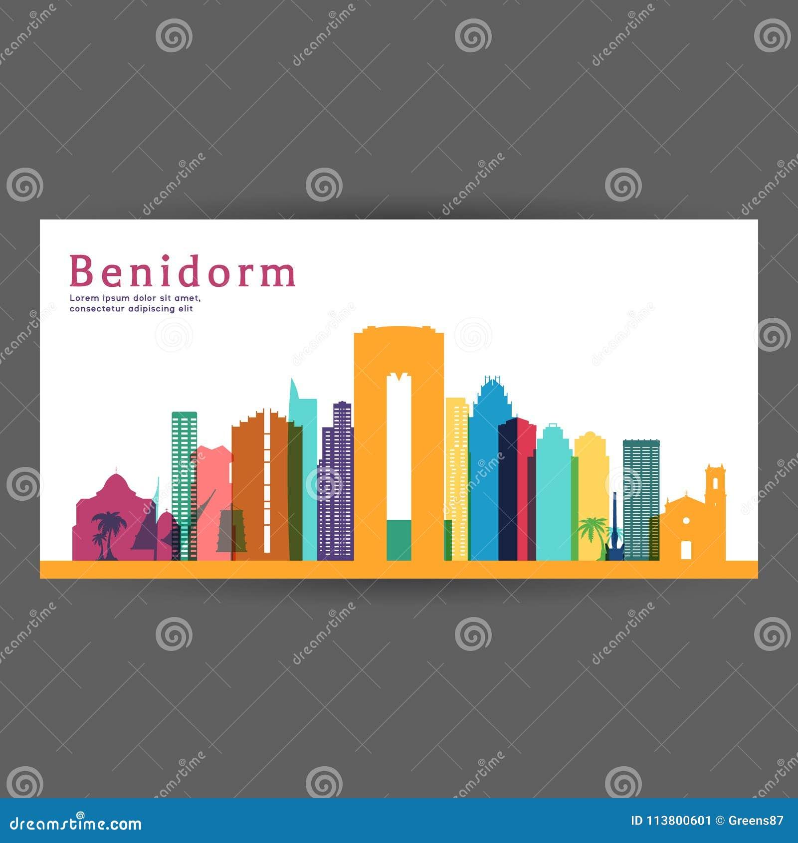 Ejemplo colorido del vector de la arquitectura de Benidorm