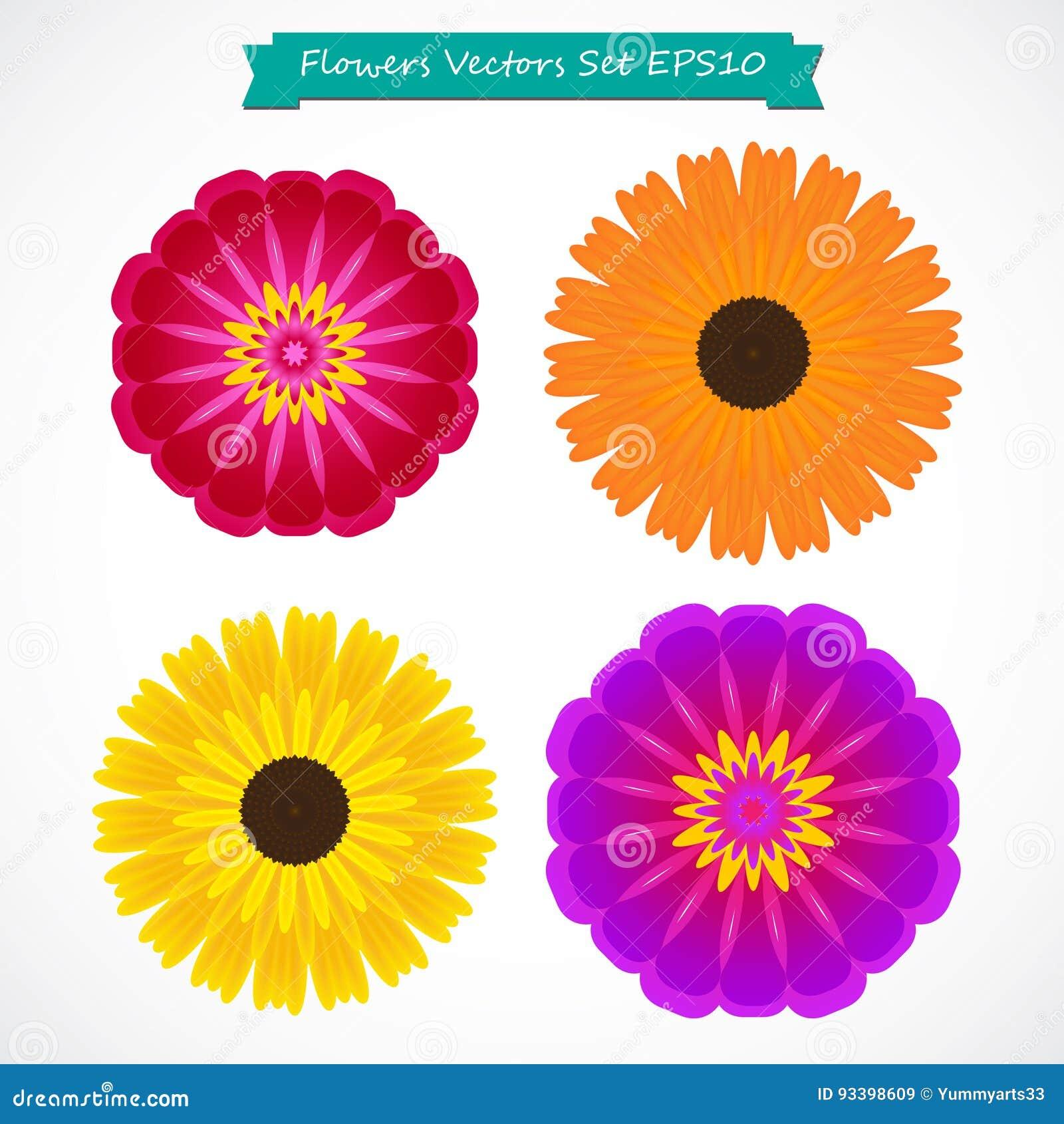 Ejemplo colorido del vectordel setde las flores