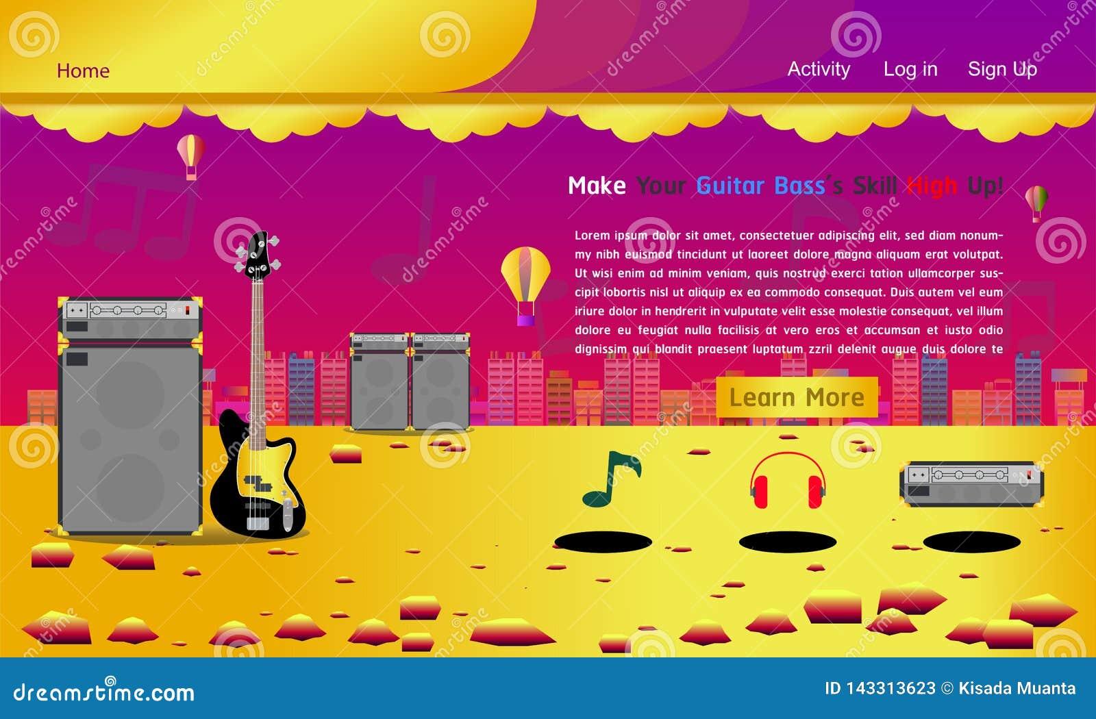 Ejemplo colorido eps10 del vector de la música de la guitarra del estudio de la página web del oro bajo de la plantilla