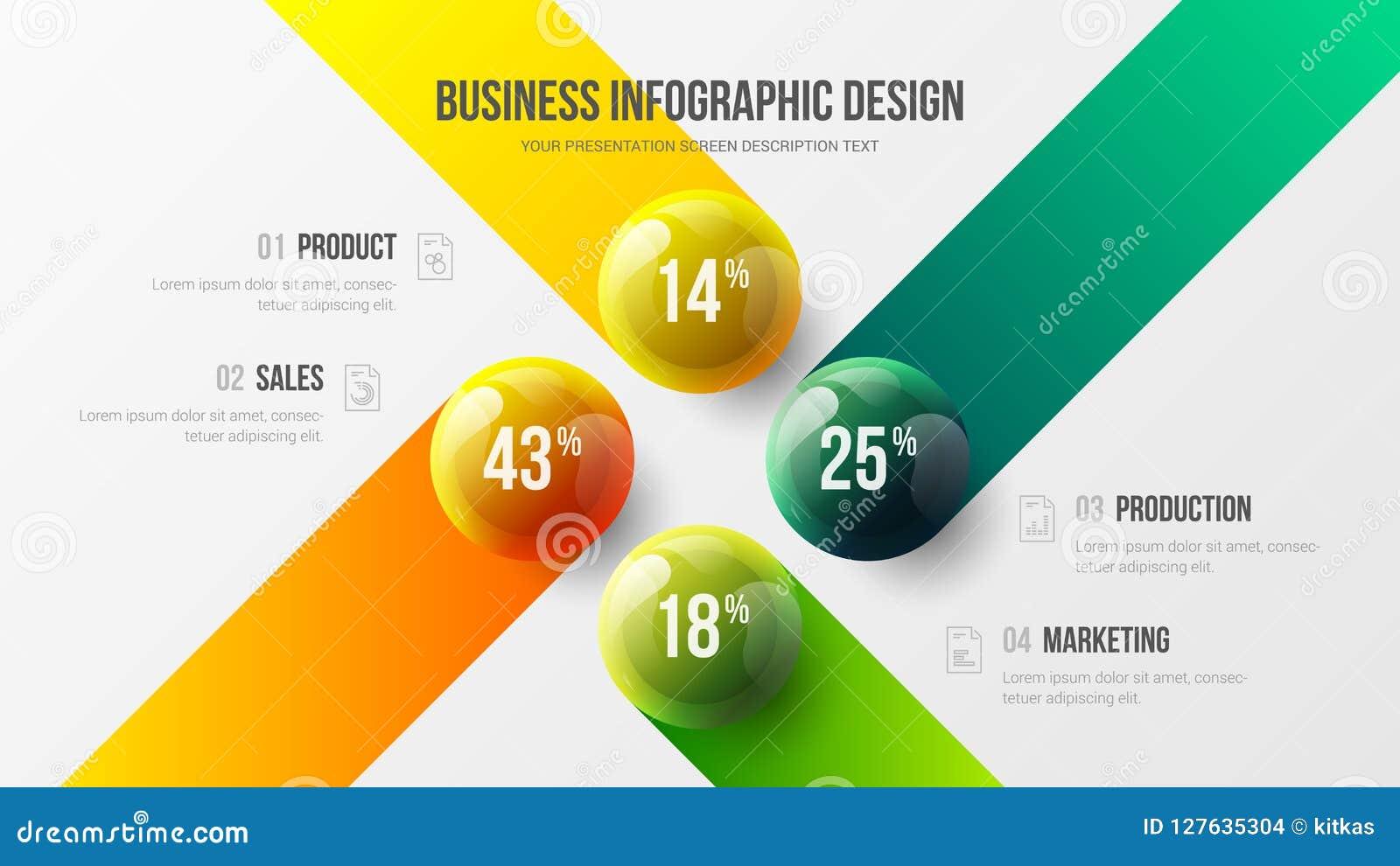 Ejemplo colorido infographic de 4 de opción del negocio de la presentación bolas del vector 3D