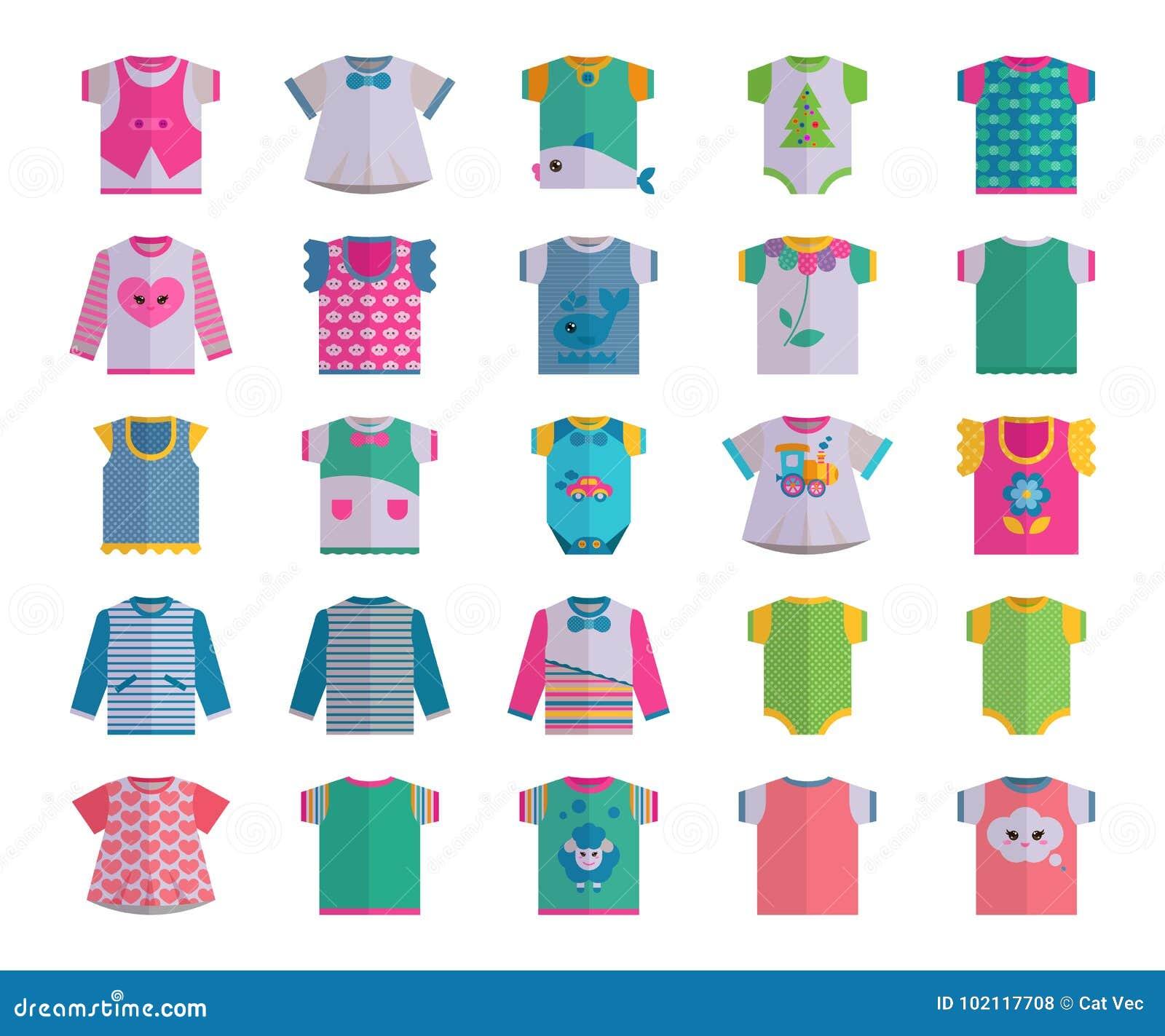 Ejemplo colorido t del desgaste de la ropa del niño del vestido del bebé del vector del niño de la ropa de la materia textil del