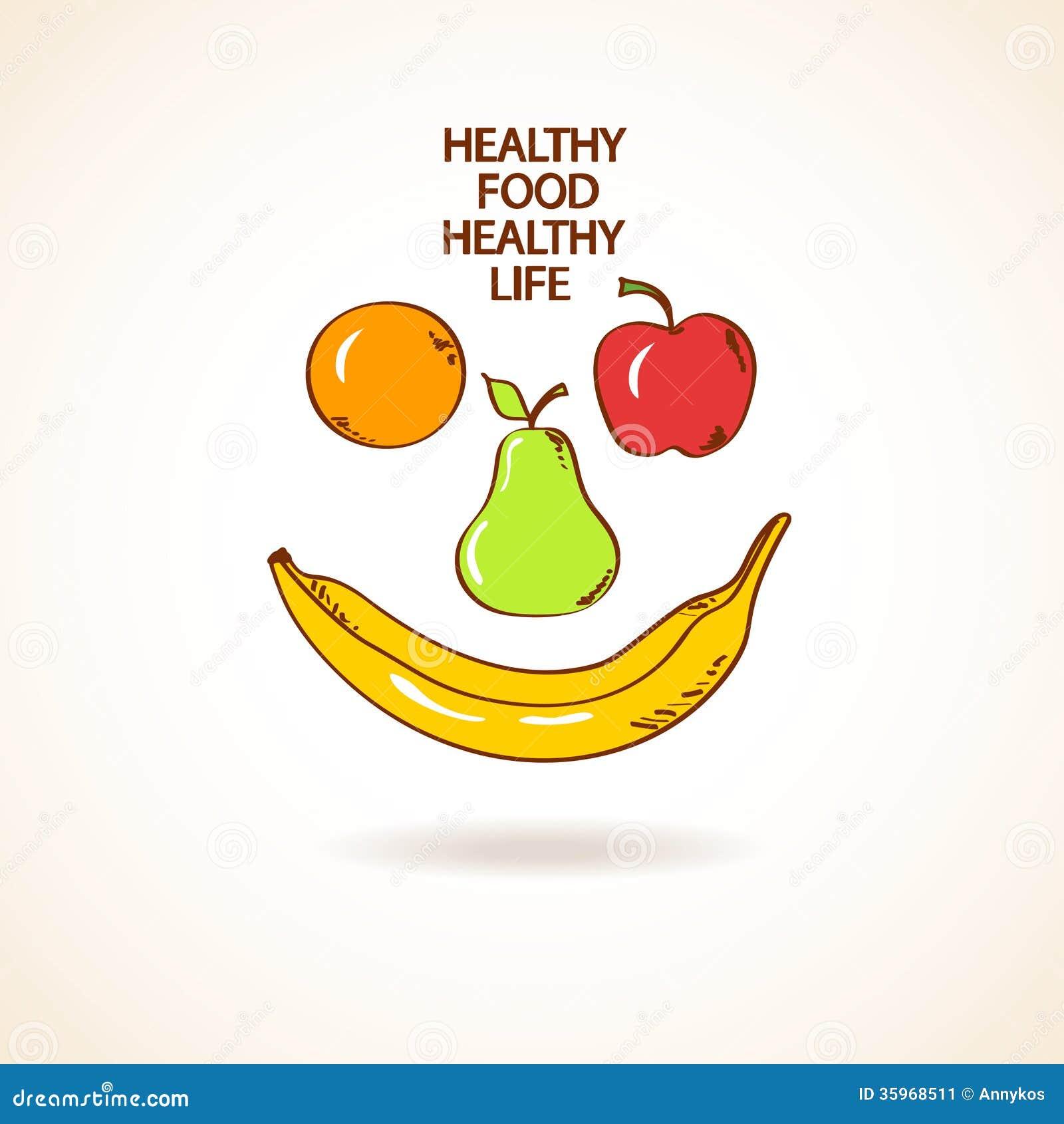 Ejemplo con la sonrisa hecha de frutas