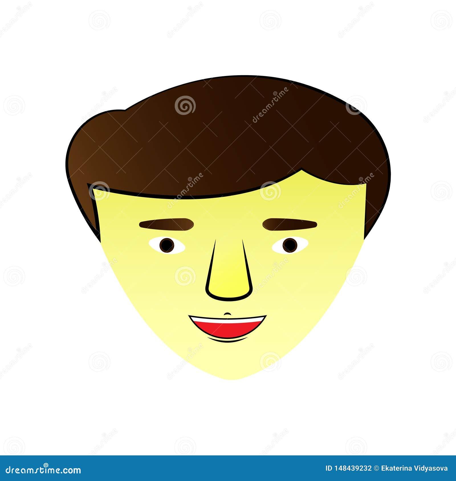 Ejemplo con una cara asiática del individuo icono Gráficos de vector,