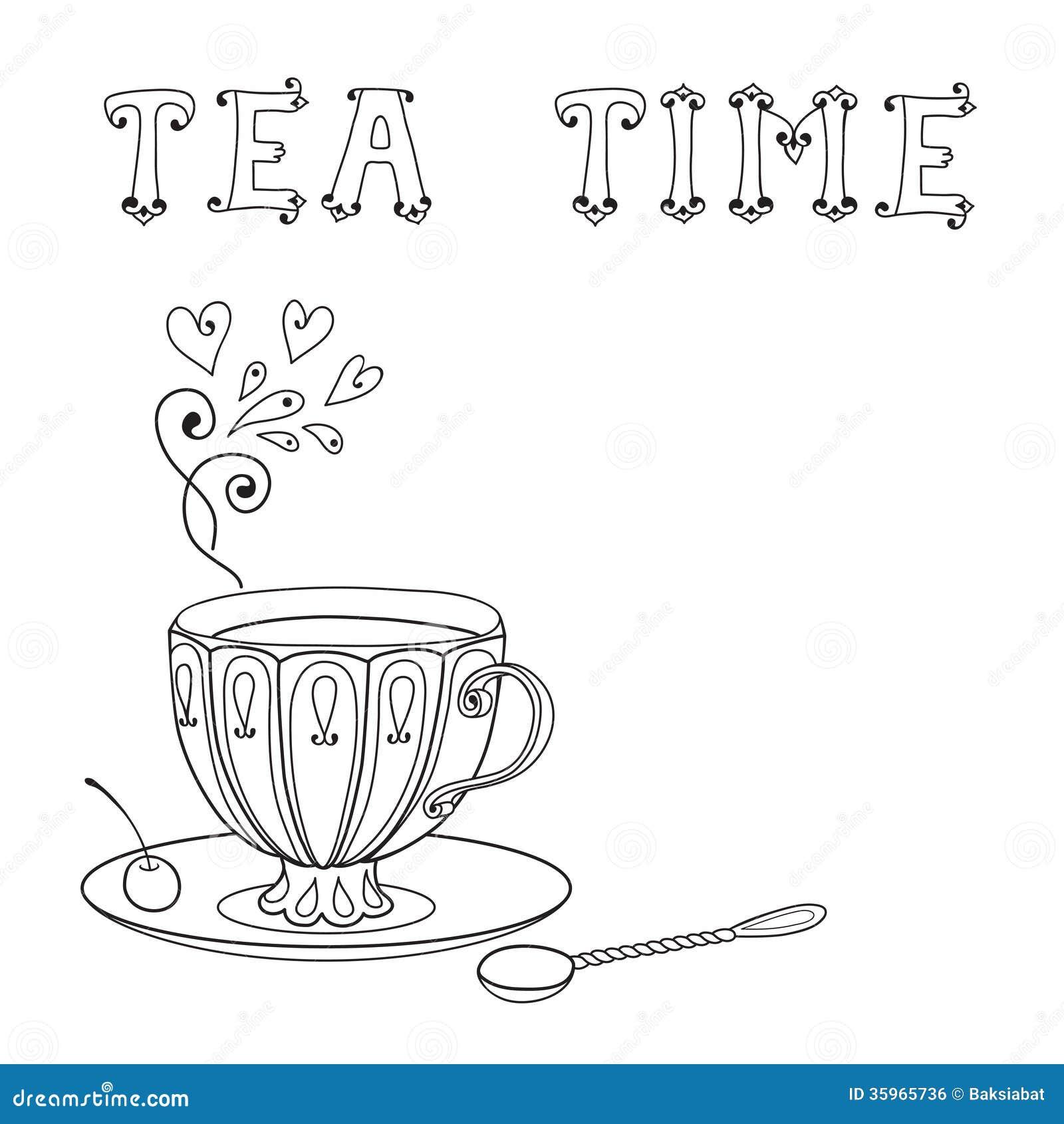 Ejemplo con una taza de té y de una inscripción.