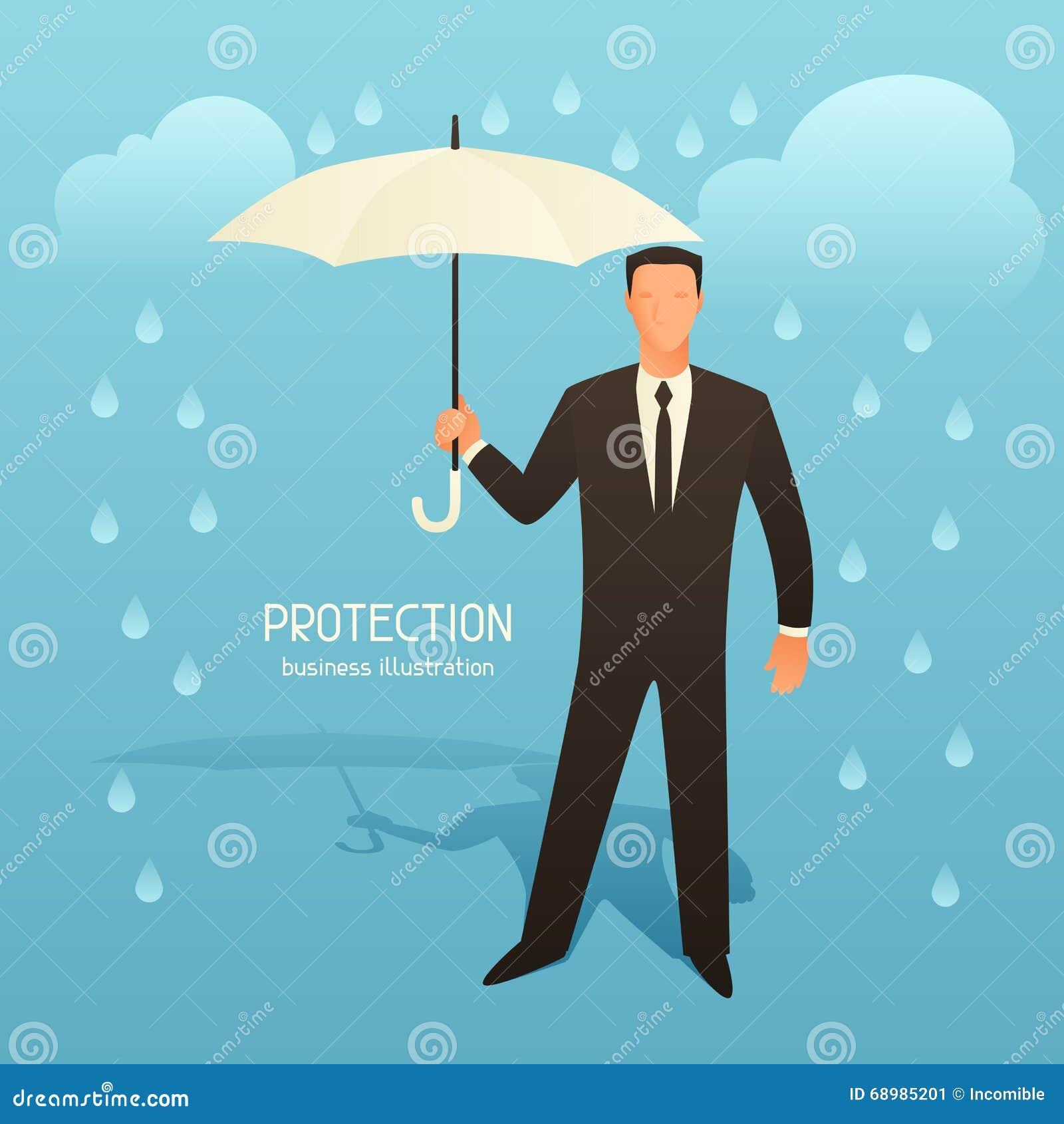 Ejemplo conceptual del negocio de la protección con el hombre de negocios que sostiene el paraguas