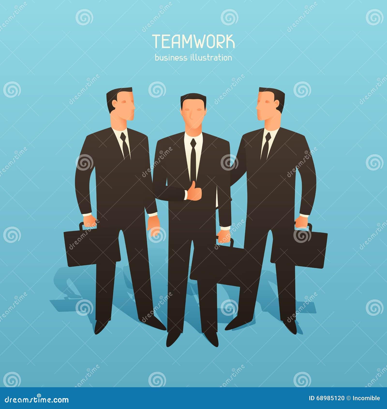 Ejemplo conceptual del negocio del trabajo en equipo con los hombres de negocios Imagen para los sitios web, artículos, revistas