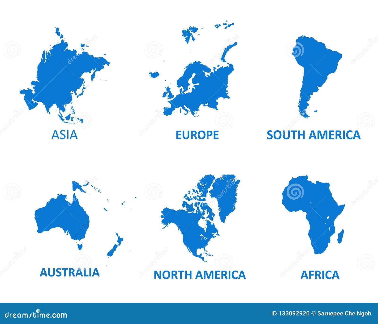 Ejemplo Continente Del Vector Del Mapa En El Fondo Blanco