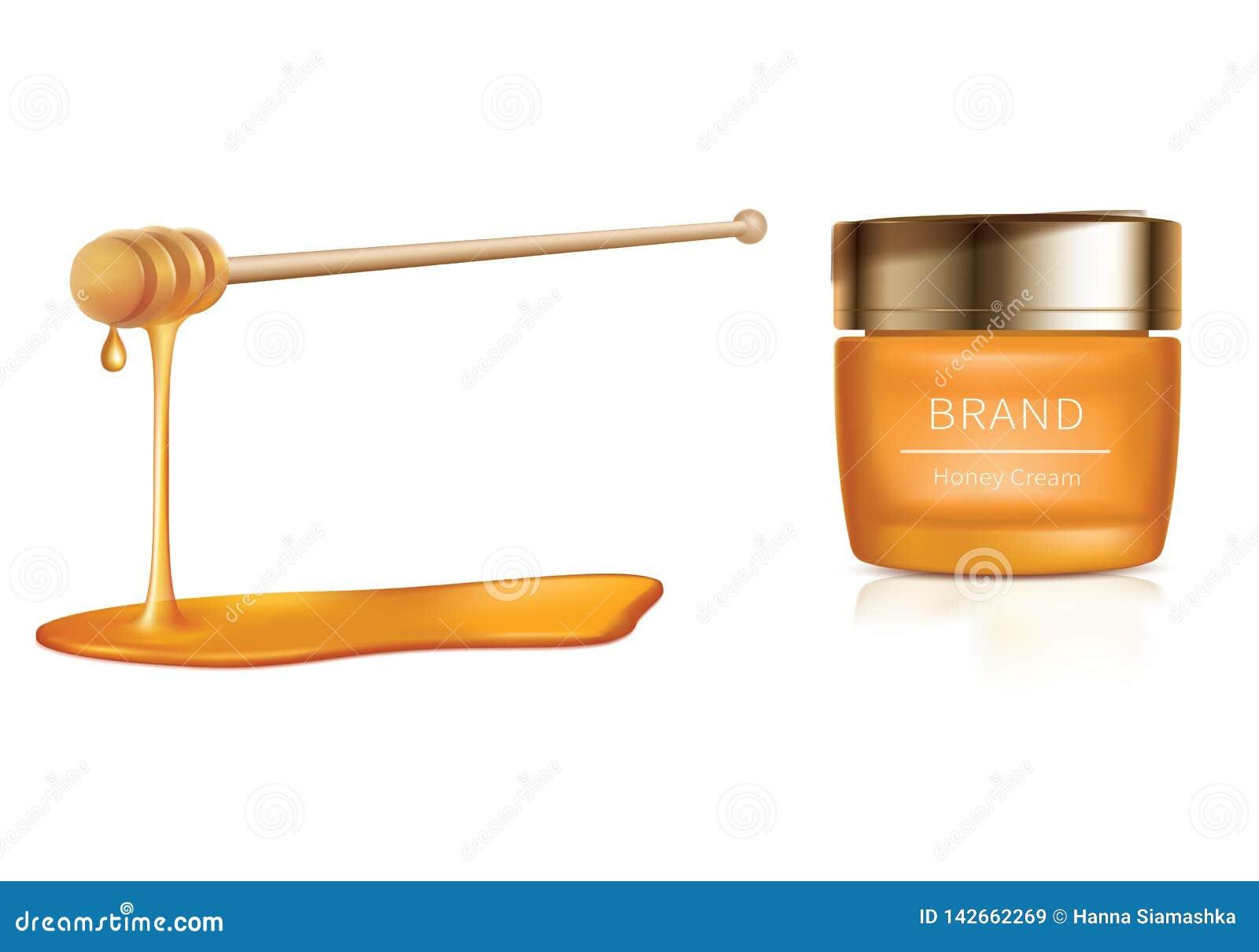 Ejemplo cosmético del vector con los cosméticos de la miel