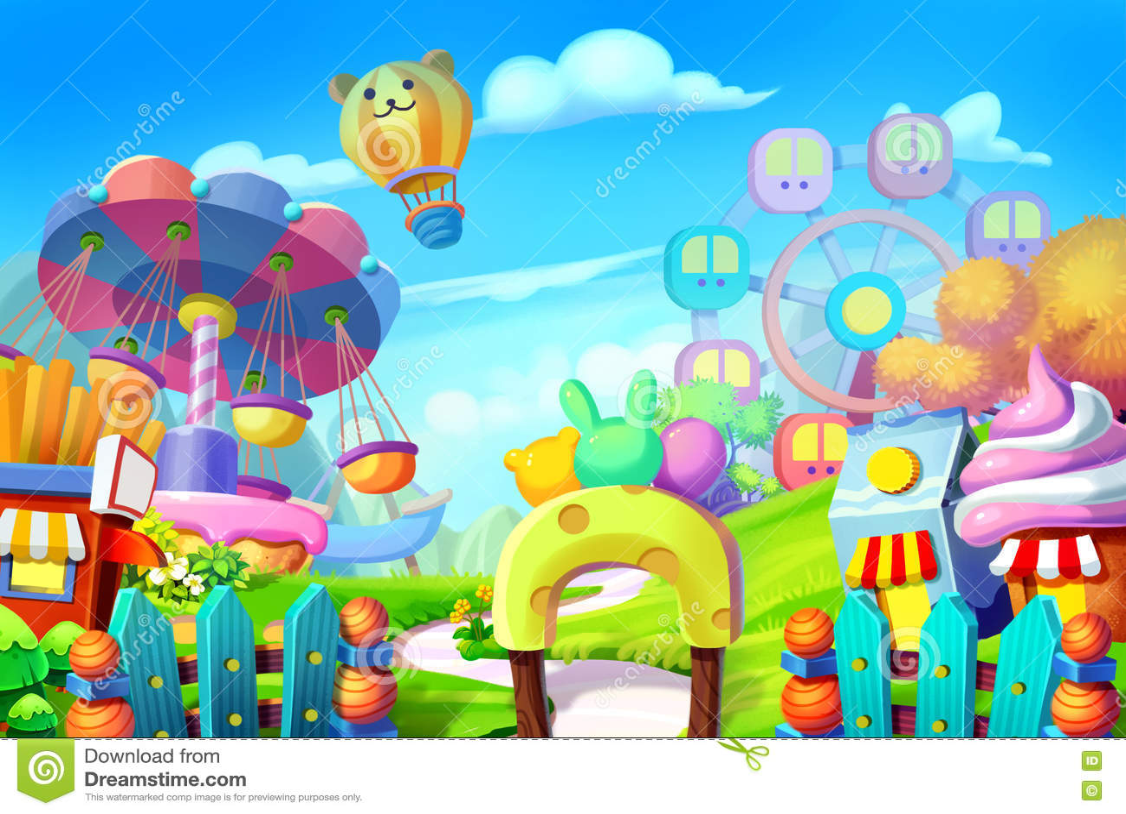 Ejemplo creativo y arte innovador: Fondo fijado: Patio colorido, parque de atracciones