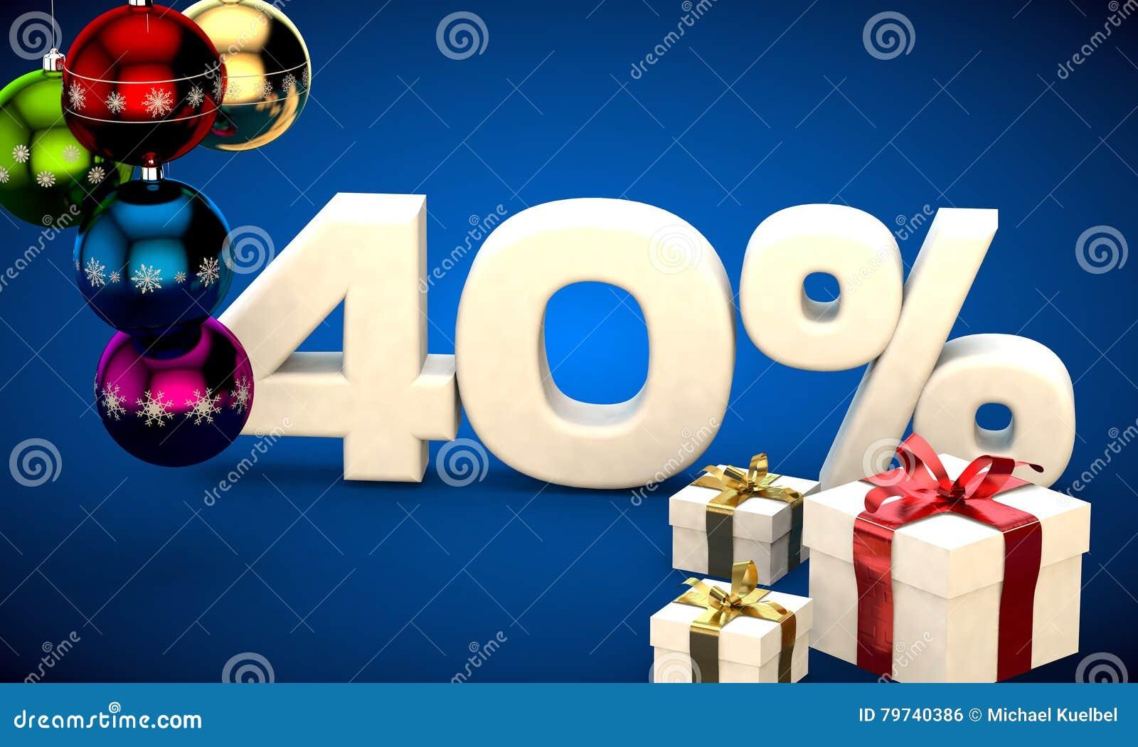 Ejemplo 3d de la venta de la Navidad descuento del 40 por ciento