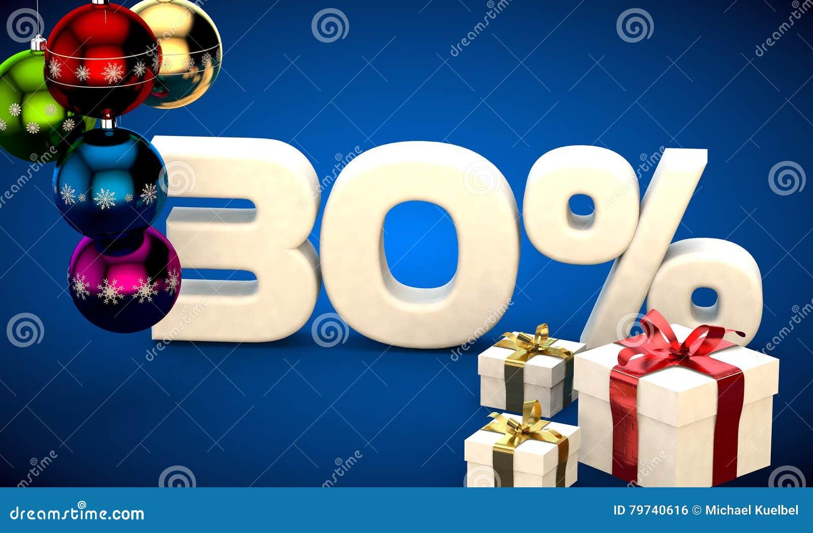 Ejemplo 3d de la venta de la Navidad descuento del 30 por ciento