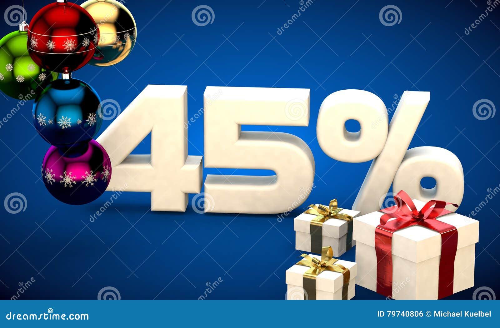 Ejemplo 3d de la venta de la Navidad descuento del 45 por ciento