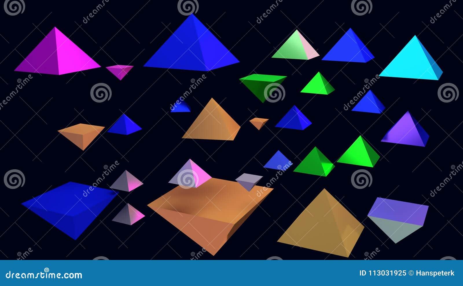 Ejemplo 3d de pirámides brillantes de cernido