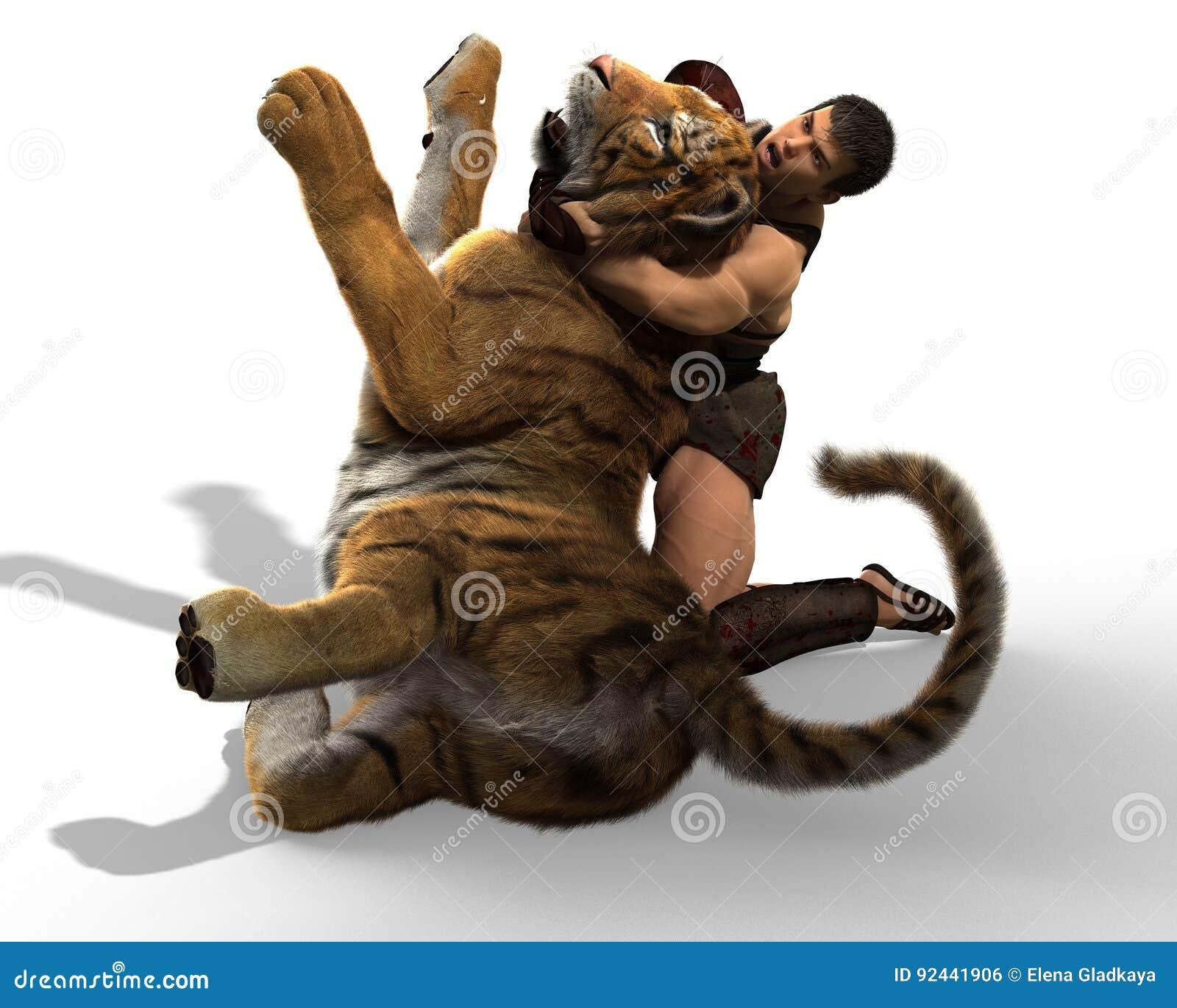 Ejemplo 3D de un gladiador que lucha con un tigre aislado en el fondo blanco