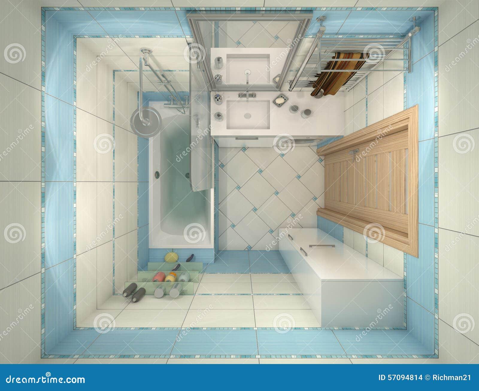 ejemplo 3d del diseño de un cuarto de baño en color azul stock de