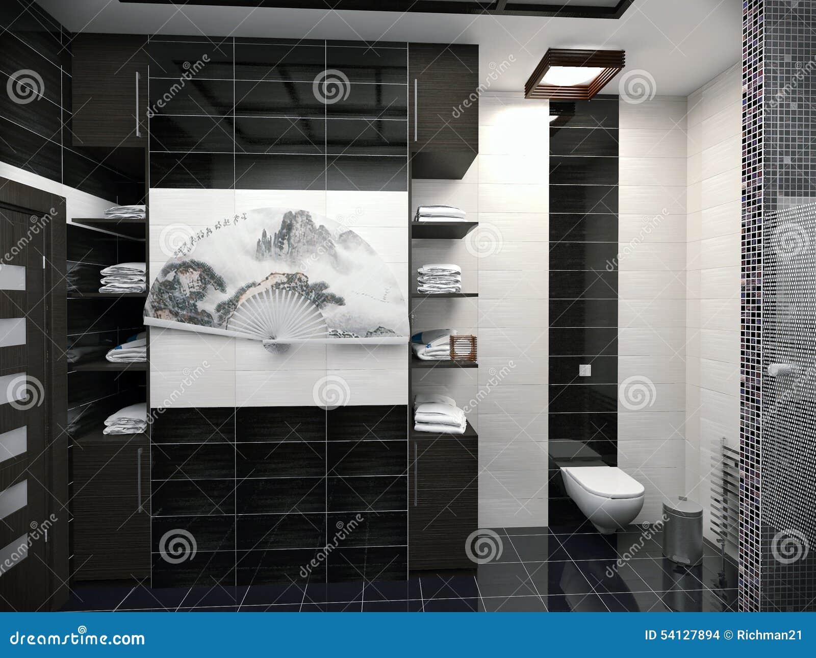 Ejemplo 3D Del Diseño De Un Cuarto De Baño En Color Blanco Y Negro ...