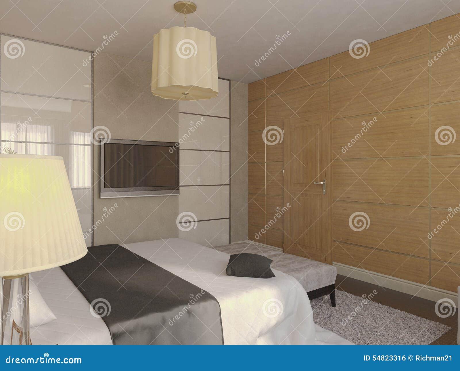 ejemplo 3d del diseño de un cuarto de baño en color marrón y beige